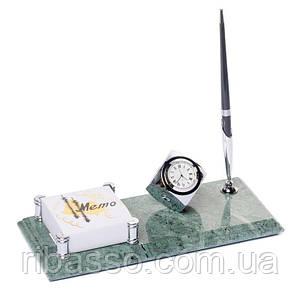 Настольная подставка на стол руководителя 24х10 с часами ручкой и фиксатором для бумаг