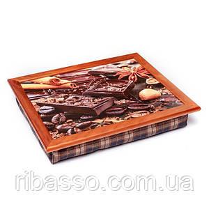 Поднос на подушке BST 710050 44*36 коричневый шоколад, зерна кофе, корица