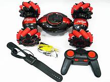 Машинка перевертыш STUNT HL-C019S на радиоуправлении, управление с руки, вращение 360° | Cиний, фото 3