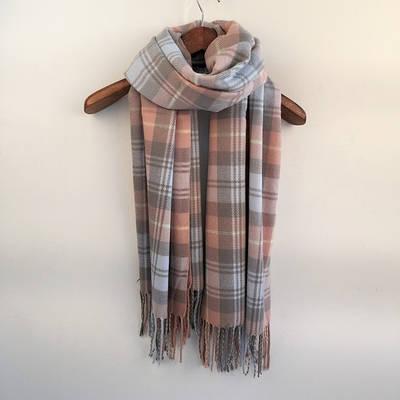 Кашемировый шарф объемный в клетку клетчатый платок шаль палантин длинный широкий фиолетовый лавандовый
