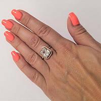 Кольцо из серебра и золота с белым камнем Беатрис, фото 1