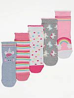 Набор детских носочков с радугами и единорогами 5 пар Джордж для девочки