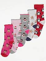 Набор детских носочков с новогодним принтом 5 пар Джордж для девочки