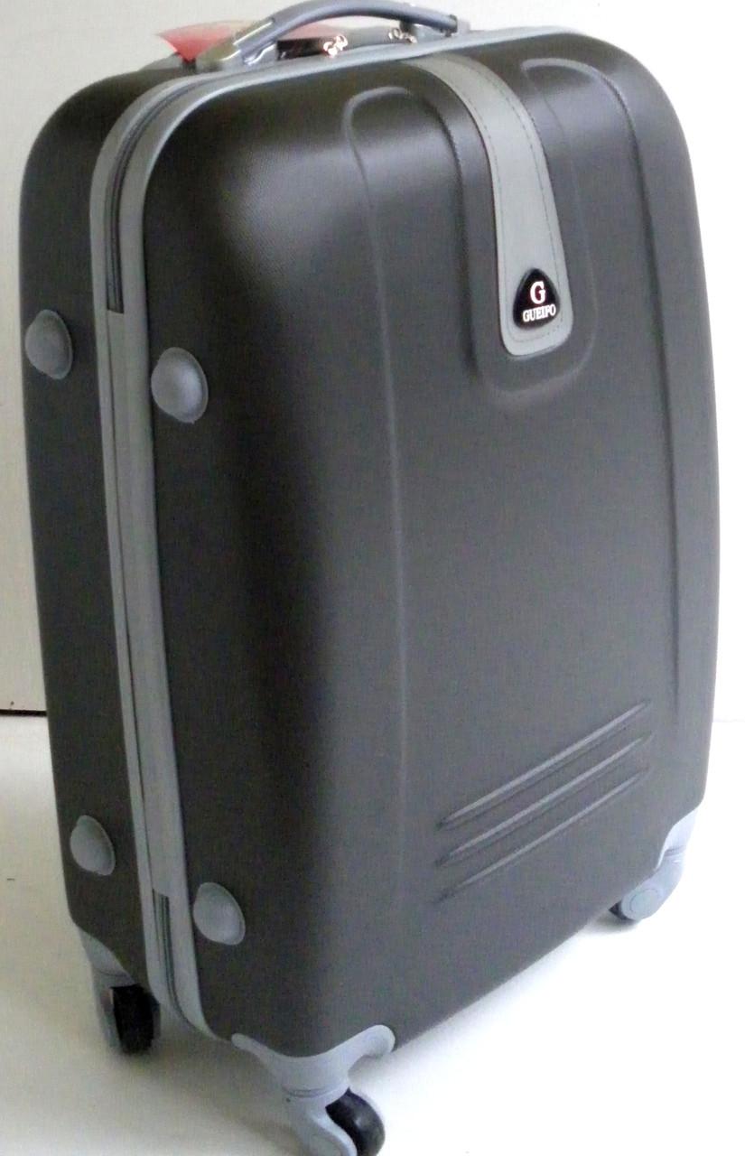 Чемодан дорожный на колесах пластиковый  малый - графит с галстучком, ... b60c5f21a5f