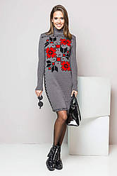 Теплое вязаное платье-вышиванка «Дарина»