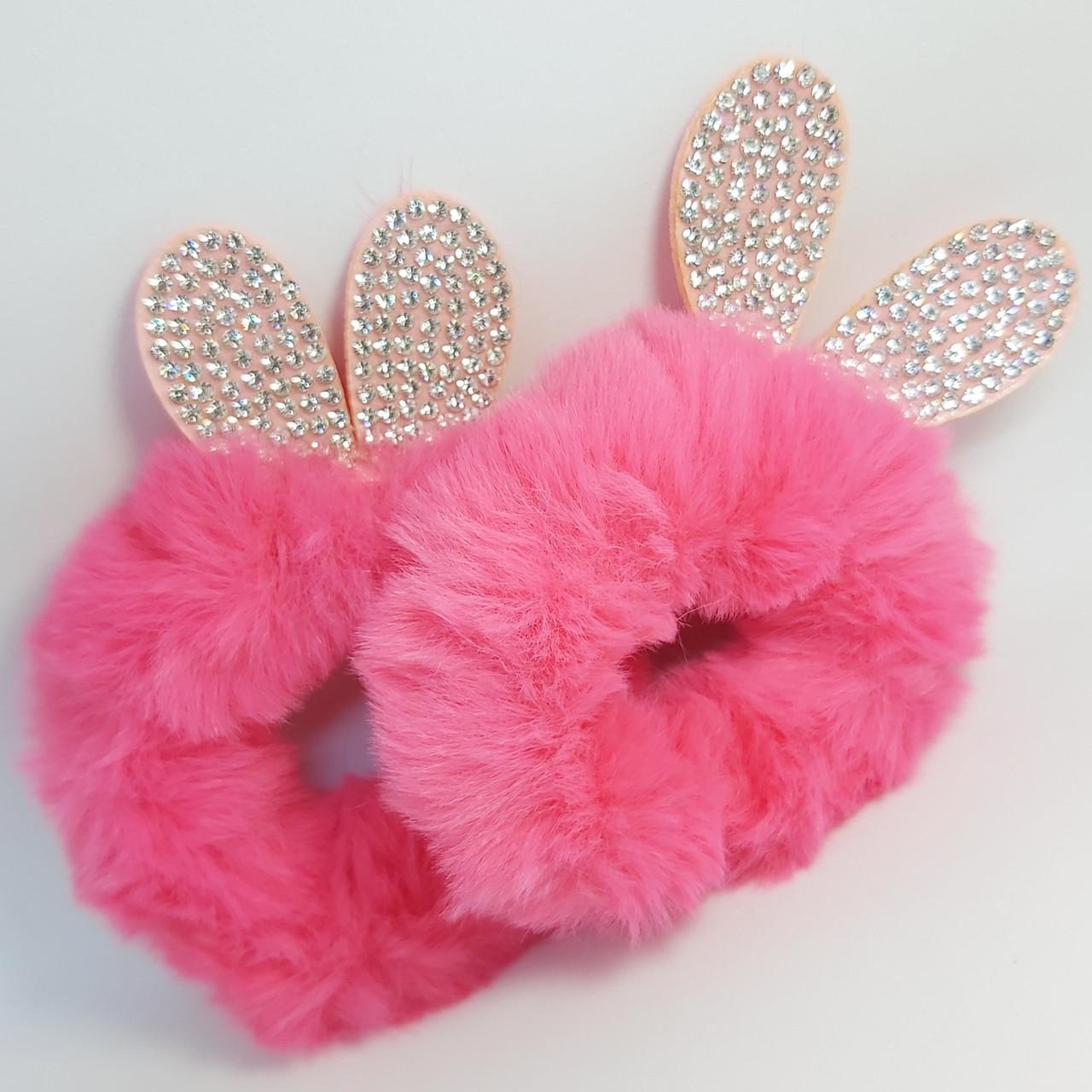 """Гумка для волосся """"""""Fluffy rabbit"""" рожеві, 2 шт"""