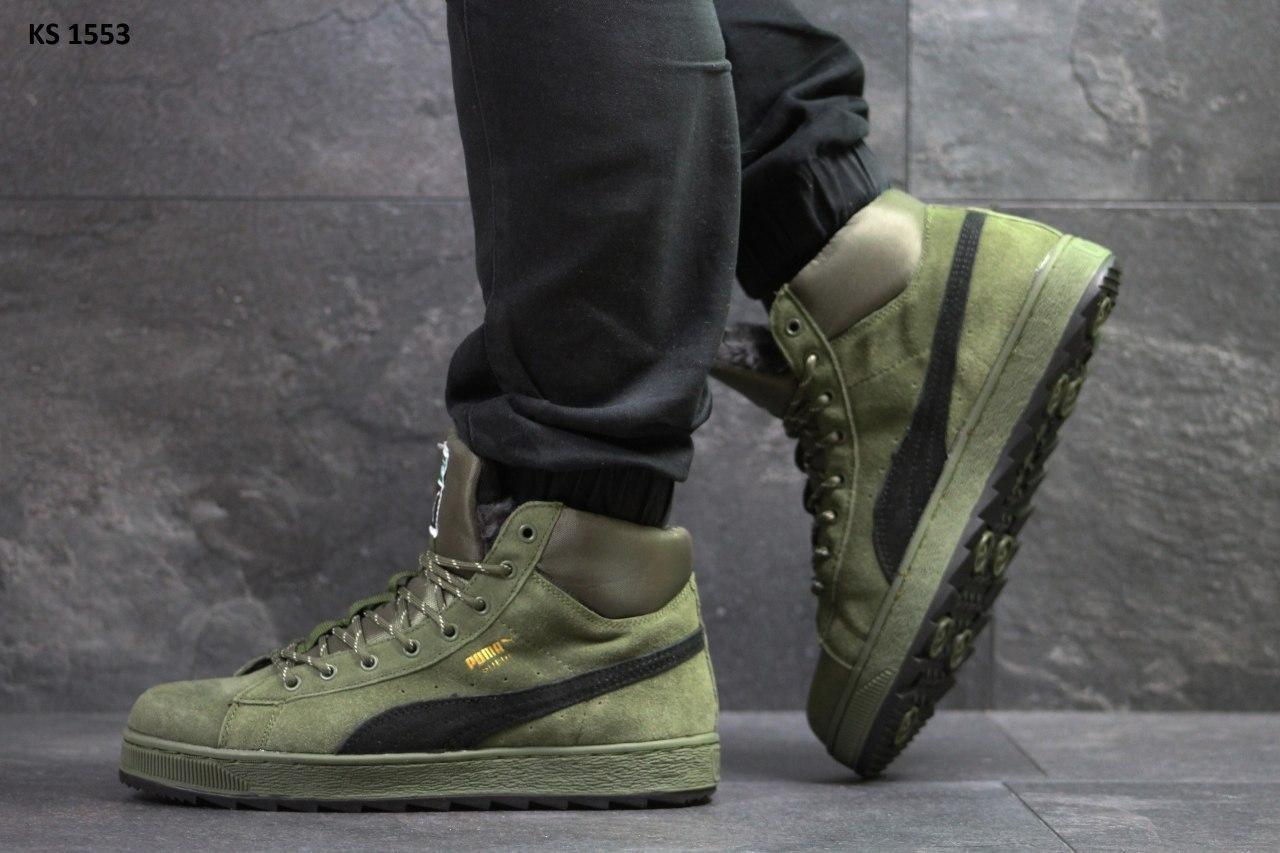🔥 Ботинки кроссовки мужские зимние Puma Suede зеленые кожаные кожа теплые на меху шерстяные меховые