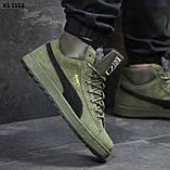 🔥 Ботинки кроссовки мужские зимние Puma Suede зеленые кожаные кожа теплые на меху шерстяные меховые, фото 7
