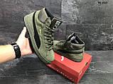 🔥 Ботинки кроссовки мужские зимние Puma Suede зеленые кожаные кожа теплые на меху шерстяные меховые, фото 5