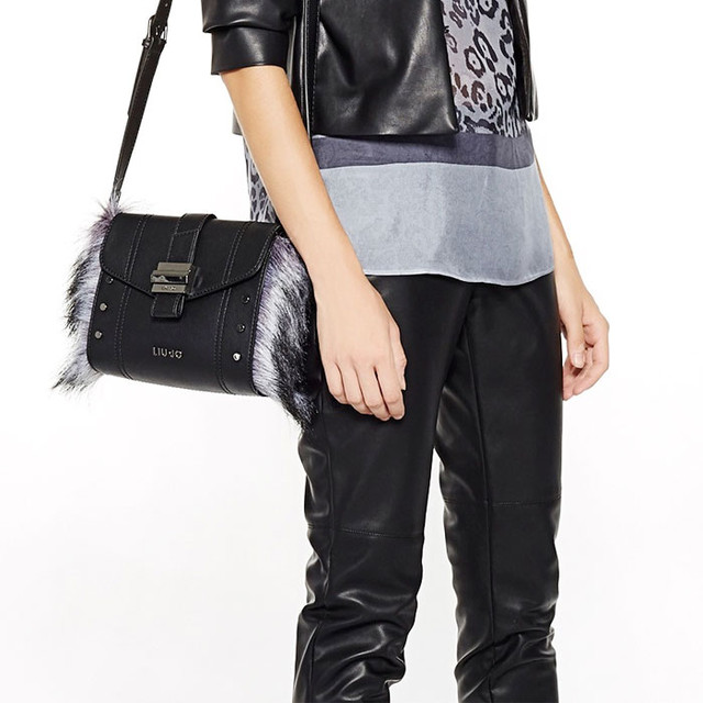 Grafite Fur Bag Black Liu Jo