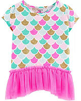 Очаровательная детская футболочка с пышной рюшей Русалочка Картерс