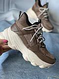 Коричневые спортивные кроссовки на платформе, фото 2
