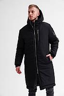 Мужская черная зимняя куртка парка с капюшоном