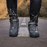 🔥 Ботинки кроссовки мужские зимние Nike Air Force серые кожаные кожа теплые на меху шерстяные меховые, фото 8