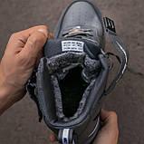 🔥 Ботинки кроссовки мужские зимние Nike Air Force серые кожаные кожа теплые на меху шерстяные меховые, фото 5