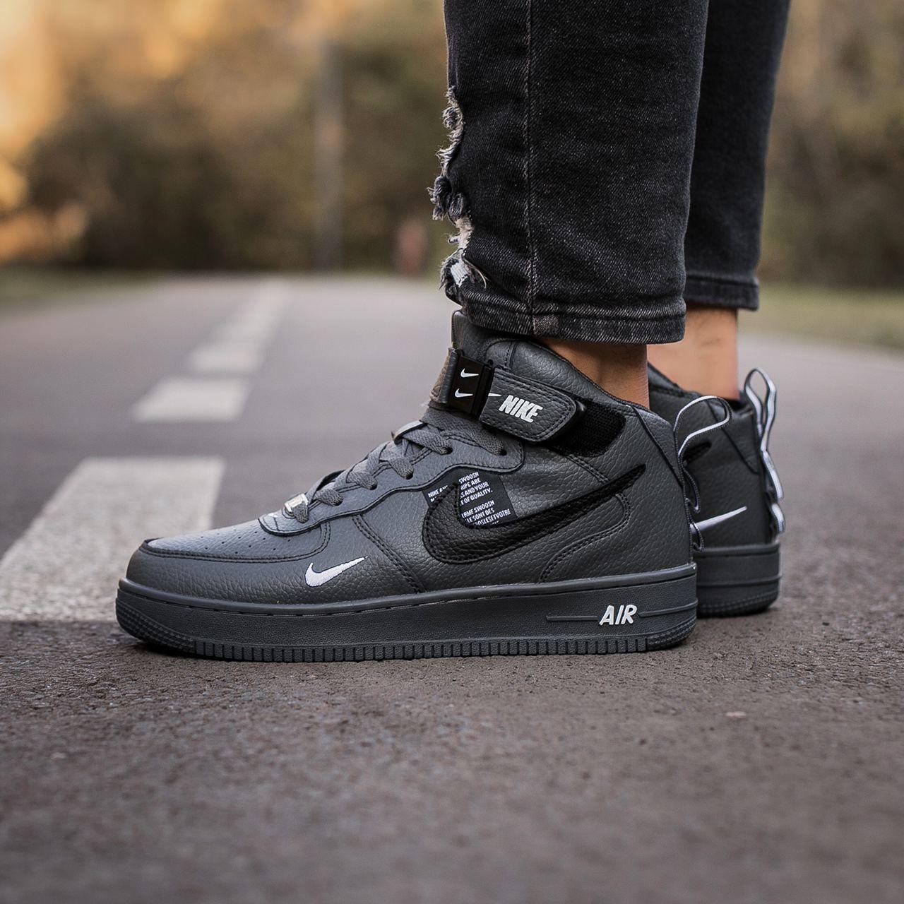 🔥 Ботинки кроссовки мужские зимние Nike Air Force серые кожаные кожа теплые на меху шерстяные меховые
