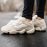 🔥 Ботинки кроссовки женские зимние Adidas Yeezy Boost 500 Fur бежевые кожаные замшевые теплые на меху меховые, фото 3
