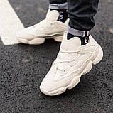 🔥 Ботинки кроссовки женские зимние Adidas Yeezy Boost 500 Fur бежевые кожаные замшевые теплые на меху меховые, фото 9