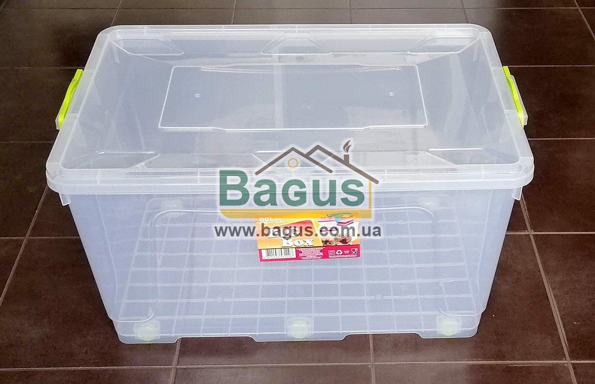 """Емкость для хранения 80,0л 71х45х38,2см пластиковая с колесами, ручками и крышкой """"Big Box"""" Ал-Пластик"""