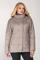 Осенняя женская куртка декорированная бусинками, цвет тёмно-бежевый большого размера от 46 до 54