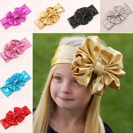 Бантик повязка для волос детская золотистая 0-4 лет
