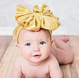 Бантик повязка для волос детская золотистая 0-4 лет, фото 2