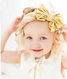 Бантик повязка для волос детская золотистая 0-4 лет, фото 3
