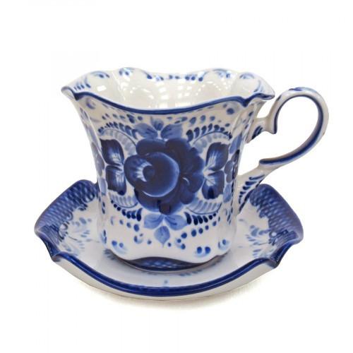 Чашка с блюдцем из керамики гжель набор Колокольчик