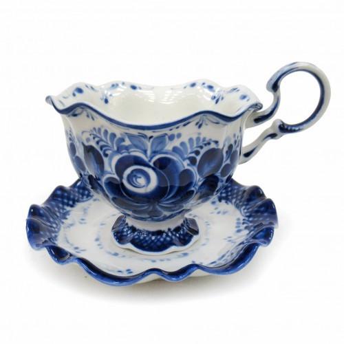 Чайная пара чашка с блюдцем гжель Снежинка