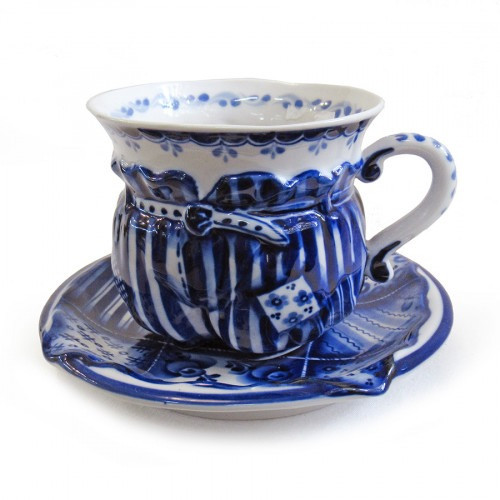 Чашка с блюдцем керамика роспись гжель Скоморошьи забавы