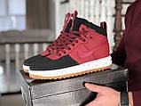 🔥 Ботинки мужские демисезонные Nike Lunar Force 1 Duckboot найк лунар форс красные кожаные кожа теплые термо, фото 2