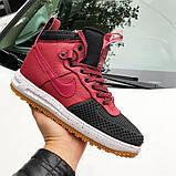 🔥 Ботинки мужские демисезонные Nike Lunar Force 1 Duckboot найк лунар форс красные кожаные кожа теплые термо, фото 5