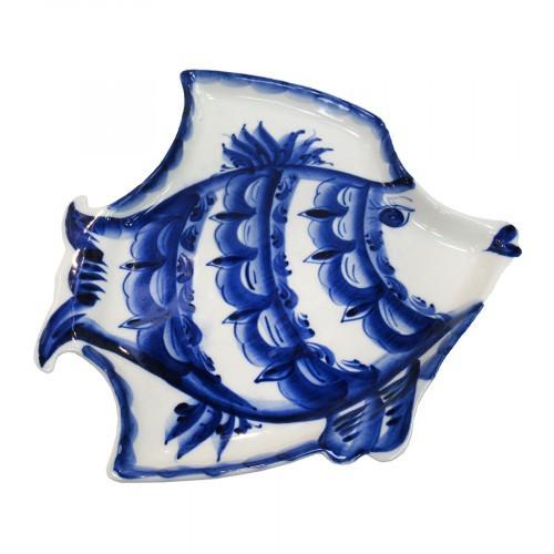Лоток керамический сувенирный гжель Рыба Ёрш