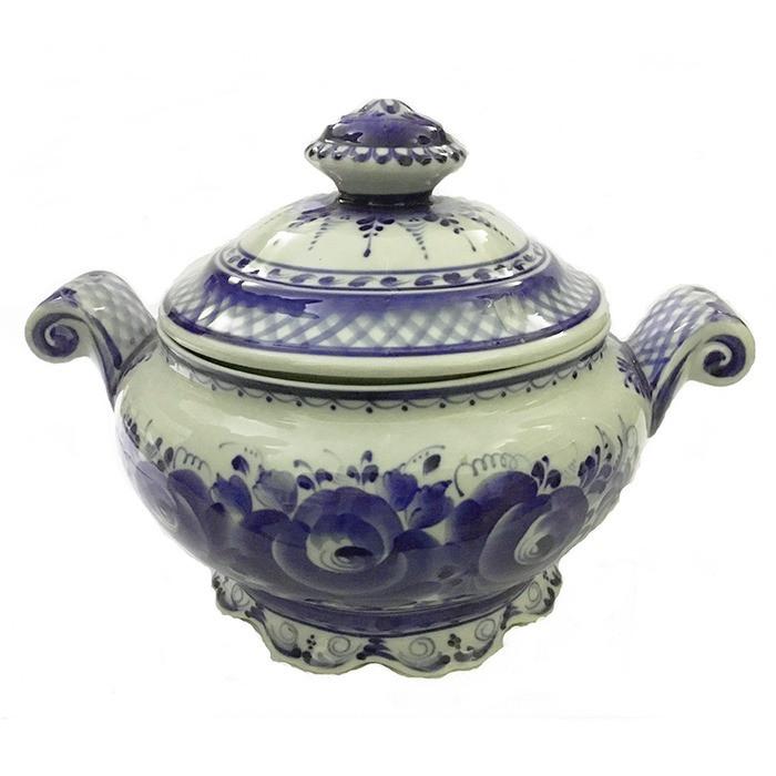 Супница керамическая с крышкой роспись гжель
