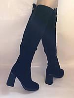 Сапоги-ботфорты на каблуке. Натуральная замша. Blue Tempt. Р. 35-40, фото 10