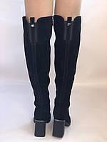 Сапоги-ботфорты на каблуке. Натуральная замша. Blue Tempt. Р. 35-40, фото 6