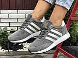 🔥 Ботинки кроссовки женские зимние Adidas Iniki серые кожаные кожа теплые на меху шерстяные меховые, фото 4