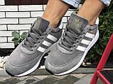 🔥 Ботинки кроссовки женские зимние Adidas Iniki серые кожаные кожа теплые на меху шерстяные меховые, фото 2