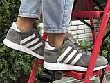 🔥 Ботинки кроссовки женские зимние Adidas Iniki серые кожаные кожа теплые на меху шерстяные меховые, фото 3