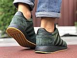 🔥 Ботинки кроссовки мужские зимние Adidas Iniki зеленые кожаные кожа теплые на меху шерстяные меховые, фото 4