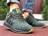 🔥 Ботинки кроссовки мужские зимние Adidas Iniki зеленые кожаные кожа теплые на меху шерстяные меховые, фото 5