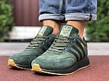 🔥 Ботинки кроссовки мужские зимние Adidas Iniki зеленые кожаные кожа теплые на меху шерстяные меховые, фото 7