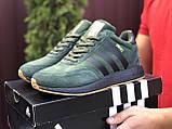 🔥 Ботинки кроссовки мужские зимние Adidas Iniki зеленые кожаные кожа теплые на меху шерстяные меховые, фото 2