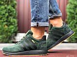 🔥 Ботинки кроссовки мужские зимние Adidas Iniki зеленые кожаные кожа теплые на меху шерстяные меховые, фото 8