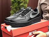 🔥 Ботинки кроссовки мужские зимние Nike Air Force черные кожаные кожа теплые на меху шерстяные меховые, фото 2