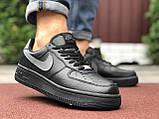 🔥 Ботинки кроссовки мужские зимние Nike Air Force черные кожаные кожа теплые на меху шерстяные меховые, фото 3