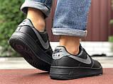 🔥 Ботинки кроссовки мужские зимние Nike Air Force черные кожаные кожа теплые на меху шерстяные меховые, фото 4