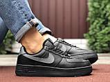 🔥 Ботинки кроссовки мужские зимние Nike Air Force черные кожаные кожа теплые на меху шерстяные меховые, фото 6