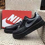 🔥 Ботинки кроссовки мужские зимние Nike Air Force черные кожаные кожа теплые на меху шерстяные меховые, фото 7