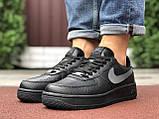 🔥 Ботинки кроссовки мужские зимние Nike Air Force черные кожаные кожа теплые на меху шерстяные меховые, фото 8
